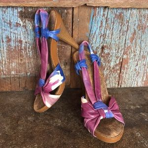 Gianni Bini Purple Tie Dye Leather Sling Back Heel